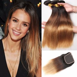 Ombre Human Hair Extensions Closure Canada - 8A Three Tone Brown Blonde Ombre Peruvian Human Hair 3 Bundles With SWiss Lace Closure Silky Straight Ombre Hair Extensions With Closure