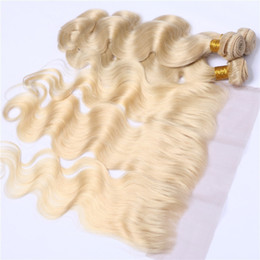 Chinese  Body Wave Platinum Blonde Virgin Hair Bundles With Lace Frontal Closure Unprocessed Human Russian 613 Blonde Hair With Ear to Ear Frontals manufacturers