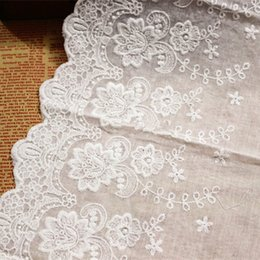 diy cotton lace NZ - (3Yards-5Yards) Width 22cm Off White100% Cotton Embroidered Lace Fabrics, Women's Clothing Diy Lace Trim Free Shipping RS422
