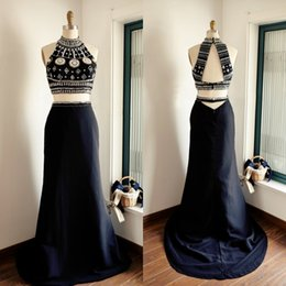 Robe De Soirée Pas Cher-Hot Sale Deux pièces Robes de bal Haut col Exquisite Beaded Crop Top Open Back Robes de soirée Custom Made Black Dark Navy Sweep Train