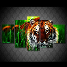 $enCountryForm.capitalKeyWord Canada - 5 Pcs Set HD Printed Tiger jungle Painting Canvas Print room decor print poster picture canvas home decor