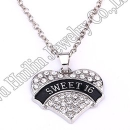 $enCountryForm.capitalKeyWord NZ - New Arrival Hot Selling rhodium plated zinc studded with sparkling crystals SWEET 16 heart pendant wheat link chain necklace