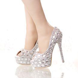 bf9b0bb5a3b4 Handmade Silver Diamond Wedding Shoes Peep Toe Platforms Rhinestone Prom  Party Shoes Super High Heel Stilettos Bridal Shoes