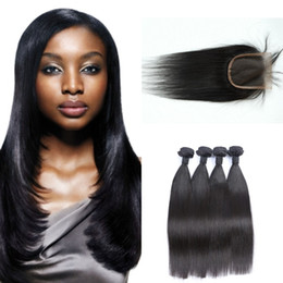 Dhl hair peruvian straight online shopping - 4 Bundles with Lace Closure Unprocessed Human Virgin Hair Extension Malaysian Straight Hair Weaves G EASY DHL Free