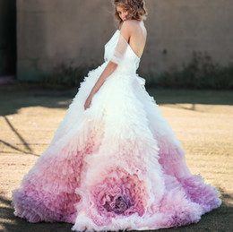 prom dress pink fluffy NZ - Gradient Lavender Fluffy Evening Dress Puffy Tulle Ruffles Tiered Sweep Trian Evening Gowns Prom Dresses Amazing Formal Dress Party Gown