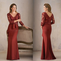 Discount brides mom silver dress - New Burgundy Mother of the Bride Dresses 3 4 Sleeves Lace Appliqued Moms Gowns Plus Size Mermaid Woman Evening Dresses B