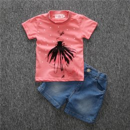 Cheap T Shirts Shorts Canada - baby girls summer short sleeves set cartoon t-shirt+short jeans clothing set for lovely girl Cotton fashion suits clothes cheap wholesale