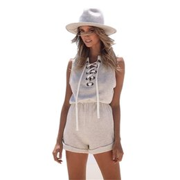 Mini Combinaisons En Dentelle Pas Cher-2016022207 2016 Summer New Lace Up Femmes Jumpsuit sans manches Mini Jumpsuit coton Rompers Femmes Jumpsuit Hollow Out Salopette