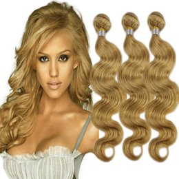 27 pcs human hair extension Canada - New Arrival Honey Blonde #27 Hair Bundles Brazilian Human Hair Weaves Body Wave Pure Color Hair Weaving Extensions 3 Pcs Lot