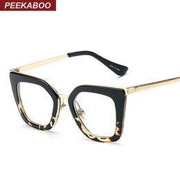 18a439b34a Gros-New 2016 lunettes de vue vintage cadres mode oeil de chat demi monture  en métal lunettes pour femmes marque designer UV400 léopard noir