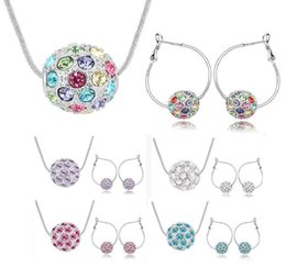 christmas ball earrings 2019 - Austrian crystal ball full silver plated jewelry set pendant necklace and earrings multicolor optional 5 colors cheap ch
