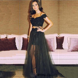 black off shoulder lace NZ - Off Shoulder Short Sleeve Appliques Prom Dresses Cheap Black Lace Long Evening Dresses Sexy Long Two Piece Prom Party Dresses