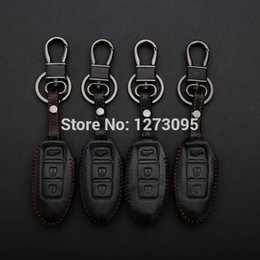 keychain nissan UK - Hand Stitched Sewing Leather Car Key Cover For NISSAN Teana X-Trail Livina Sylphy Tiida Sunny Remote Key Holder Case Keychain