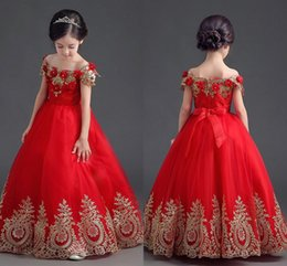 Barato Partidas Da Festa Da Princesa-Vintage Red Gold Girls Dress Up Dresses Off Shoulder Appliques Tulle Andar Comprimento Princess Flower Girls Vestidos Vestidos infantis de festa de aniversário