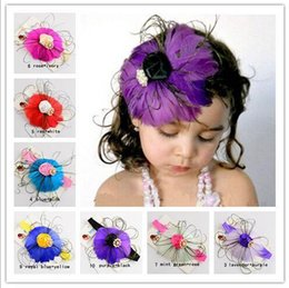 Barato Peacock Headband Flower Girl-New Europe Baby girls Peacock headband pluma com pérolas Childrens infantil acessórios para cabelo Hairbands Rose Flowers Headwear infantis KHA465