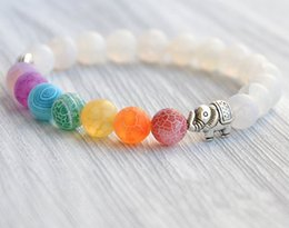 $enCountryForm.capitalKeyWord Canada - 7 Chakra Alloy Elephant Charm Yoga Beaded Bracelet For Women Bangles Handmade Jewelry 3 Styles Stone Beads Bracelet Gift Free DHL D150S