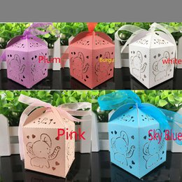 Barato Diy Favores De Partido Caixas De Presente-Laser Cut Hollow Elephant DIY Favor Holders Carriage Baby Shower Favors Boxes Presentes Candy Boxes com fita Wedding Eventos Party Supplies