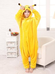 sleepwear costumes Australia - 2017 New Hot Sale Yellow Pikachu Dress Lovely Cheap Pajamas Anime Cosplay Costume Unisex Adult Sleepwear Woman Coat