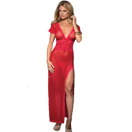 Barato Vestidos Transparentes Para A Noite-Black Transparent Jacquard Underwear feminino Fantasias Sexy Erotic Lingerie Sexy Hot Erotic Gown Long Night Dress-10 * 8P
