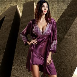 Silk Nightgowns Robes Sets Canada - Emulation Silk Robe Sets Full Sleeve  Women Bathrobes Sexy V 432eabd3c