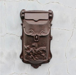 Wholesale mailboxes for sale - Group buy Small Rustic Cast Iron Mail Box Mailbox Metal Letters Post Box Wall Mounted Postbox Home Garden Yard Patio Courtyard Decor Horses Brown