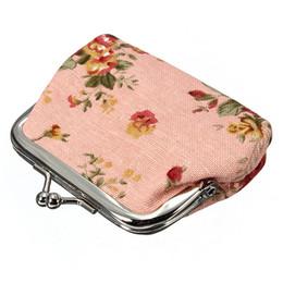 Discount mini clip purses - Wholesale- AUAU Women Roses Floral Fabric Clip Mini Small Coin Pocket Purse Bag Clutch