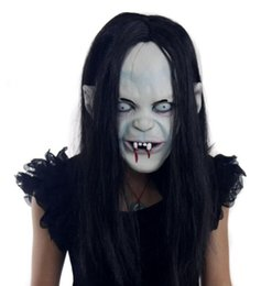 rubber face mask for halloween NZ - novelty Props Rubber caps Halloween witch ghost vendetta Sadako pullover horror masks scary Zombie party bride Masks