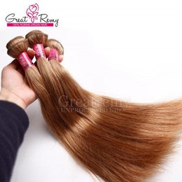 Discount indian remy hair factory - 3pcs lot brown color hairs #12 remy hair bundles silky straight good quality and factory price Greatremy brazilian hair