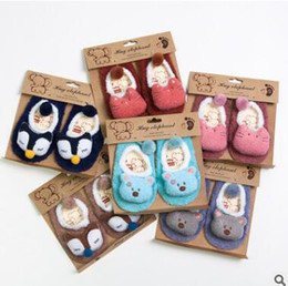 Barato Chinelos Para Bebês-3D Animal Baby Socks Coréia Infant Toddler Girls Boys Non Slip Animal Fox Bear Cat Socks Casual Cotton Slipper Newborns Short Floor Socks