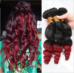 Ombre Human Hair Bundles Canada - Brazilian Red Ombre Loose Wave Virgin Human Hair Extensions Dark Root 1B Red Two Tone Ombre Remy Human Hair Weave Bundles 3Pcs Lot