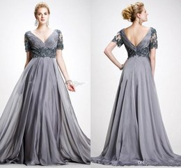Discount elie saab wedding custom dress - Elie Saab Mother Of The Bride Dresses With Short Sleeve V Neck Appliques Chiffon Floor Length Plus Size Backless Gray We