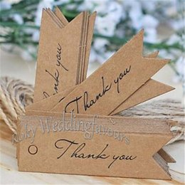 brown paper gifts Canada - 100PCS Wedding Kraft Paper Thank You Tags Brown White 2x7cm Wedding Gift Flag Tags Free Twines DIY Supplies