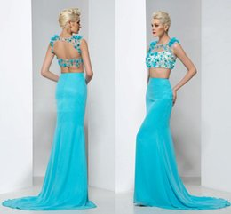 Barato Trompete Da Sereia Do Desenhista-Designer Blue Mermaid Two Piece Prom Dress Long 2016 Sequined Crystal Sweep Train Chiffon Trompete Mulheres Evening Evening Dressing oficial árabe