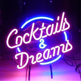 Cocktail Light Sign Canada - 17*14 inches Cocktails DIY LED Neon Sign Real Glass Flex Rope Light Indoor Outdoor Decoration RGB Voltage 110V-240V