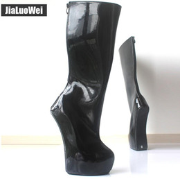 Pink ballet knee boots online shopping - 2018 New cm back Zip Strange Style Sole Knee high boots Heelless Pony Platform Man Sexy Ballet Boots Fetish SM shoes
