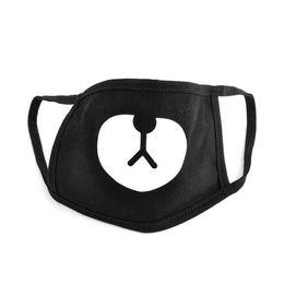 Pamuk Toz Geçirmez Ağız Yüz Maskesi Unisex Kore Tarzı Kpop Siyah Ayı Bisiklet Anti-Toz Pamuk Ağız Maskesi Yüz Maskesi indirimde