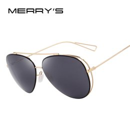 $enCountryForm.capitalKeyWord Canada - Wholesale- MERRY'S Fashion Women Sunglasses Classic Brand Designer Twin-Beams Coating Mirror Flat Panel Lens Summer Shades S'8582