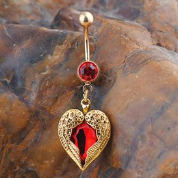 Animal Wings Ring Canada - Golden Love Heart Dangle Wing Body Piercing Rhinestone Navel Belly Button Ring PI04