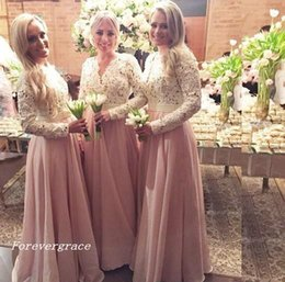a7a4754a1ba0 2017 Cheap Pink Chiffon Muslim Bridesmaid Dress Lace Country Garden Formal Wedding  Party Guest Maid of Honor Gown Plus Size Custom Made