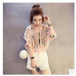 Discount no.1 sun - Wholesale- Summer new women's jacket female high quality thin round neck half sleeve sun protection air conditionin