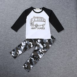 Baby Boy T Shirt Cars Canada - INS Boys Casual Clothes Baby cartoon car Tops Letters T-shirt+Geometric Camouflage pants 2pcs set cotton suit free shipping C1434