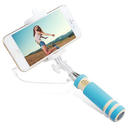 China Foldable Super Mini Wired Selfie Stick Handheld Extendable Monopod -Built in Bluetooth Shutter Non-slip Handle Compatible with phone suppliers