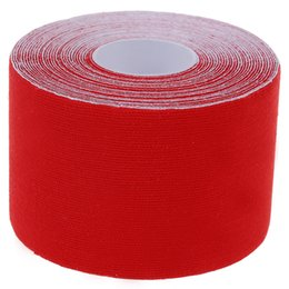 Vente en gros - 1 rouleau sport Kinesiology Muscles Care Fitness Athletic Health bande 5 M * 5 CM - Rouge