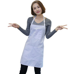 white kitchen aprons Canada - Wholesale 10 Piece White Apron with Pockets Kitchen Restaurant Cooking Apron For Chef Waiter Kitchen Cook
