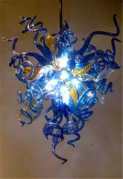 Vente en gros Bleu et ambre coloré lustre en verre soufflé Art Antique décoratif Lampes pendantes de verre de Murano pour le décor d'hôtel