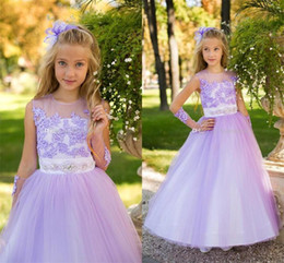 modest christmas wedding dresses 2019 - Lovely Pink Color Girls Dresses Inllusion Jewel Lilac Appliques Tulle Flower Girls' Dresses Modest Crew Neck Pagean