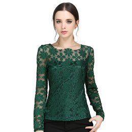$enCountryForm.capitalKeyWord UK - S-XXXXXL Plus size long-sleeved Women Casual lace shirt Spring 2016 Korean New fashion Slim Women lace tops Sexy Sheer blouses