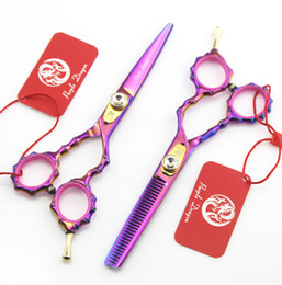 "Hair Shears Children NZ - #571 5.5"" Professional Hair Cutting Thinning Scissors,High Quality Purple-Dragon Rainbow Colorful Bamboo Shape Hairdressing Barber Shears"