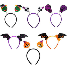 Hair band wings online shopping - Masquerade Hairs Band Halloween Pumpkin Witch Bat Wings Skeleton Headband Multi Color Decoration Hair Hoop Lovely gf B R