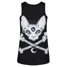 Female Skull Shirts Canada - Wholesale-2016 women tank top 3D sleeveless summer tops casual t shirt female vest tops cat skull punk party girl